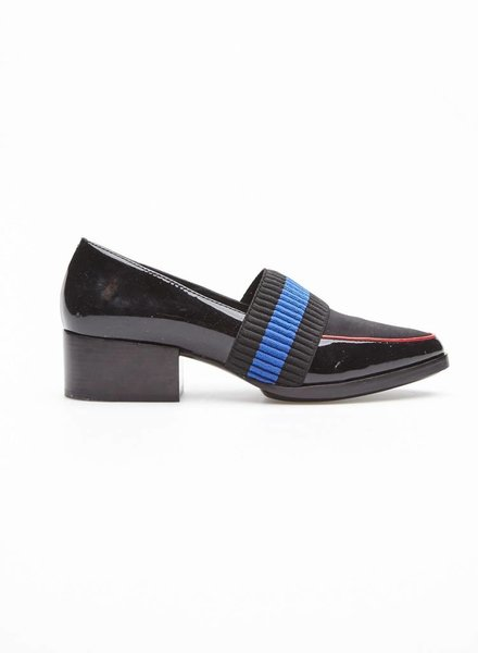 3.1 Phillip Lim FINAL SALE - BLACK LEATHER LOAFERS WITH BLUE ELASTIC BAND