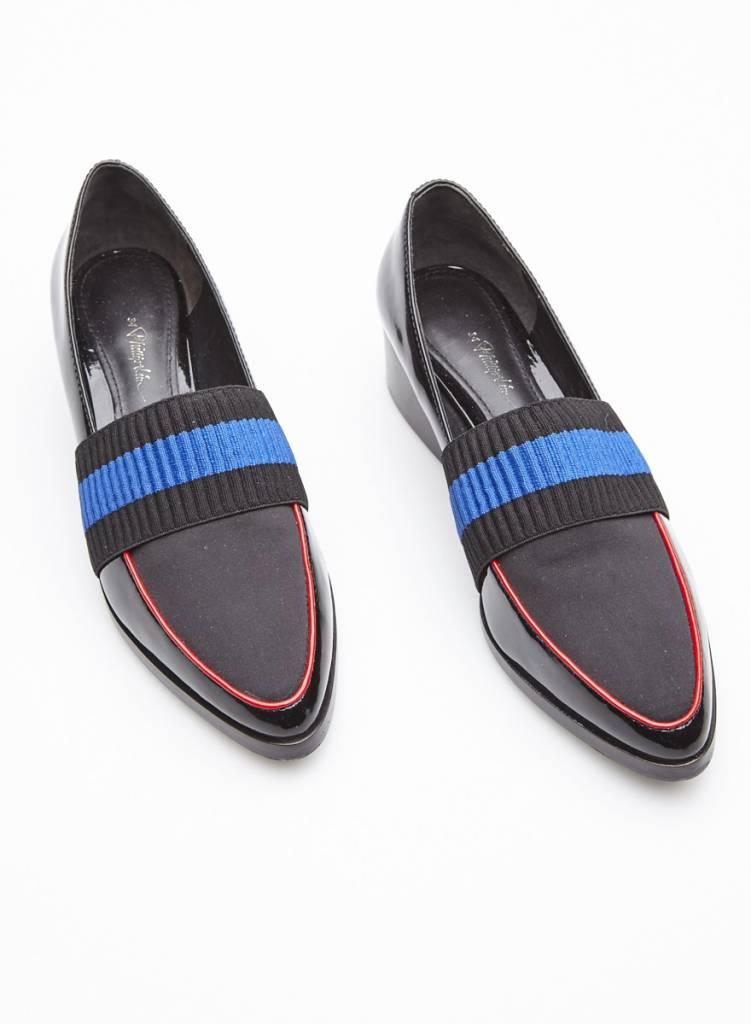 3.1 Phillip Lim Loafers en cuir noir à bande élastique noir et bleu royal modèle Quinn