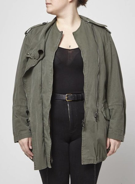 3.1 Phillip Lim SALE - GREEN PARKA WITH REMOVABLE FUR LINING