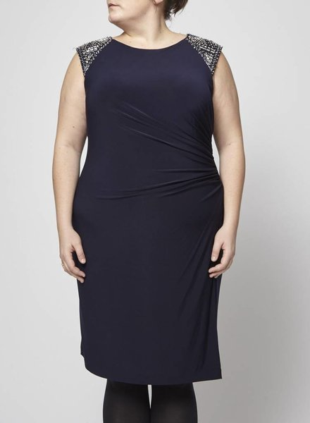 Vince Camuto NAVY DRAPED DRESS