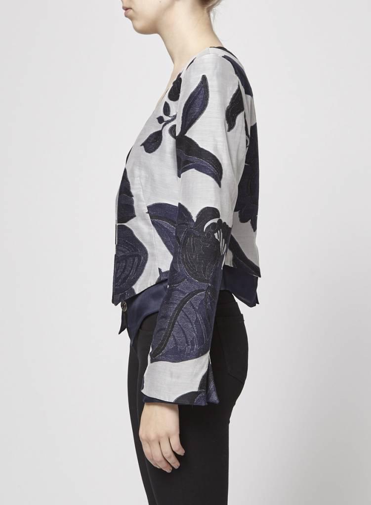 Giorgio Armani Veston en soie gris et marine broderies de fleurs