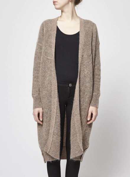 By Malene Birger VESTE LONGUE MARRON EN LAINE ET KIDMOHAIR LAINE MARRON