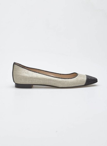 Manolo Blahnik GOLD LINEN BALLERINAS WITH BLACK GLITTERS