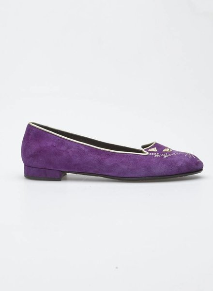Browns Couture SALE - PURPLE SUEDE BALLERINAS WITH CAT EMBROIDERY