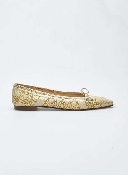 Manolo Blahnik CREME, PINK AND GOLD BROCADE BALLERINAS