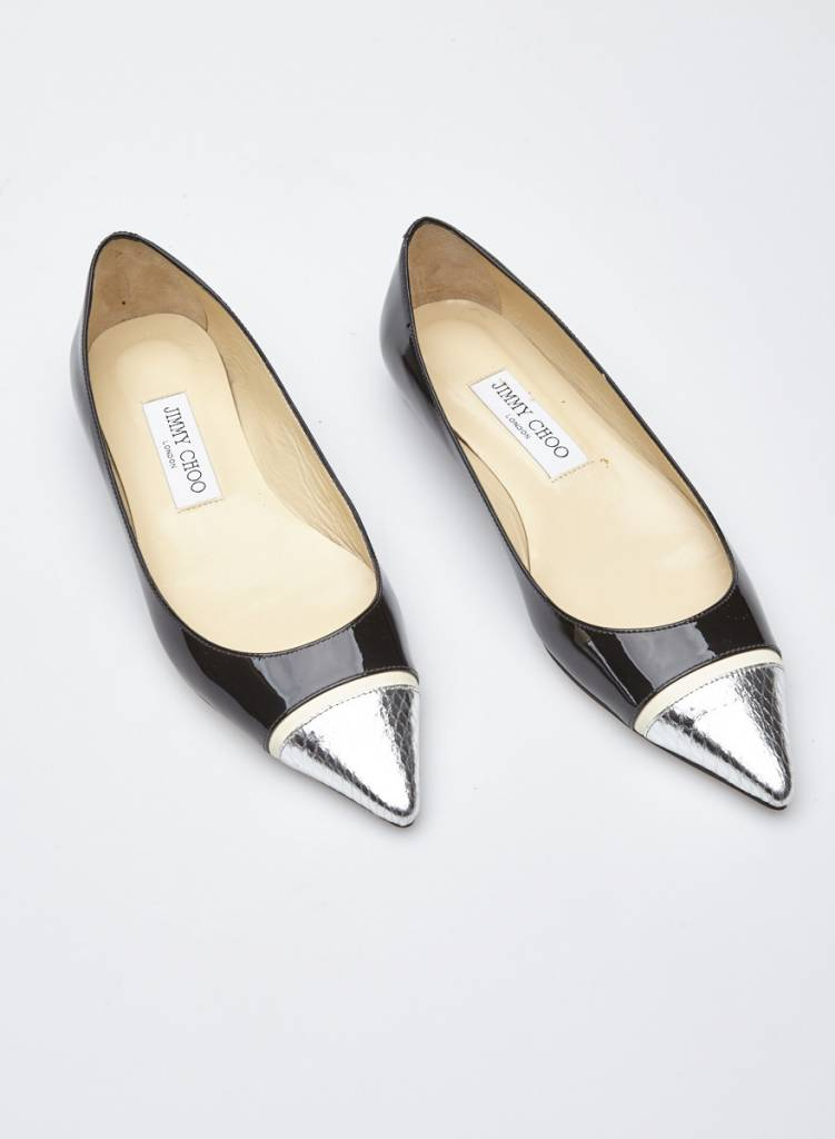 Jimmy Choo BLACK LEATHER BALLERINAS WITH SILVER DETAIL