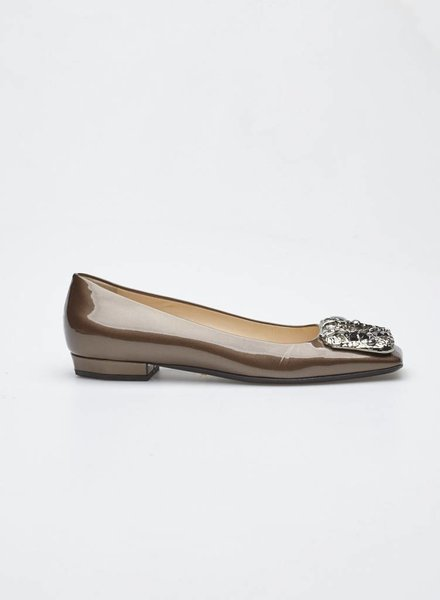 Prada BRONZE PATENT LEATHER BALLERINAS