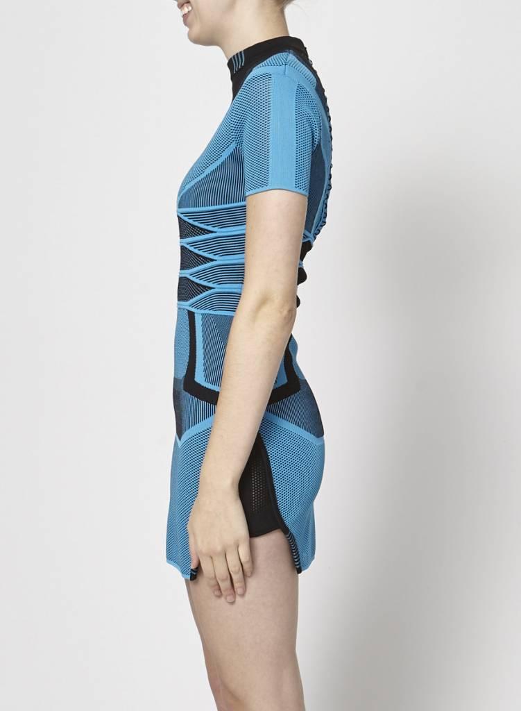 Alexander Wang Robe bodycon mailles noir et bleu