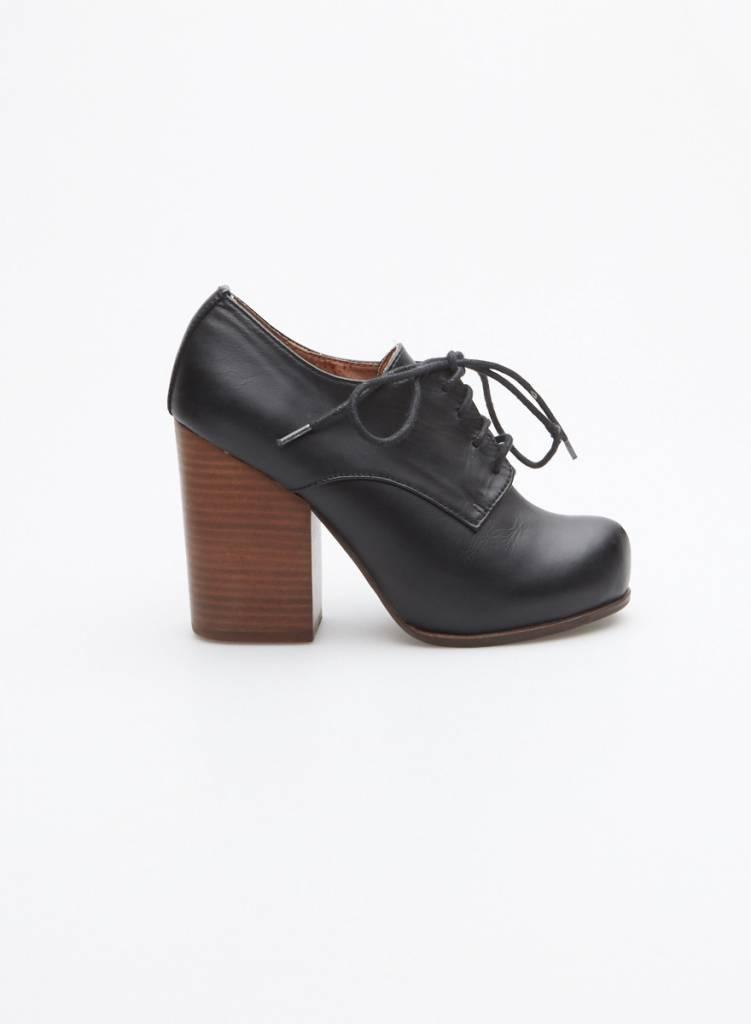 Jeffrey Campbell Chaussures en cuir noir à talon de bois