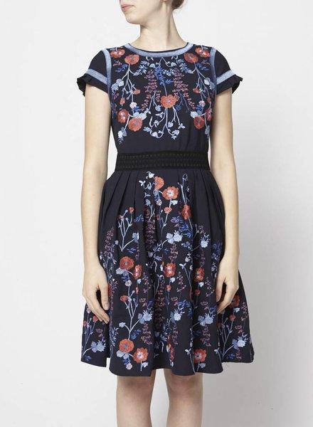 foxiedox NAVY FLOWER EMBROIDERY DRESS - NEW