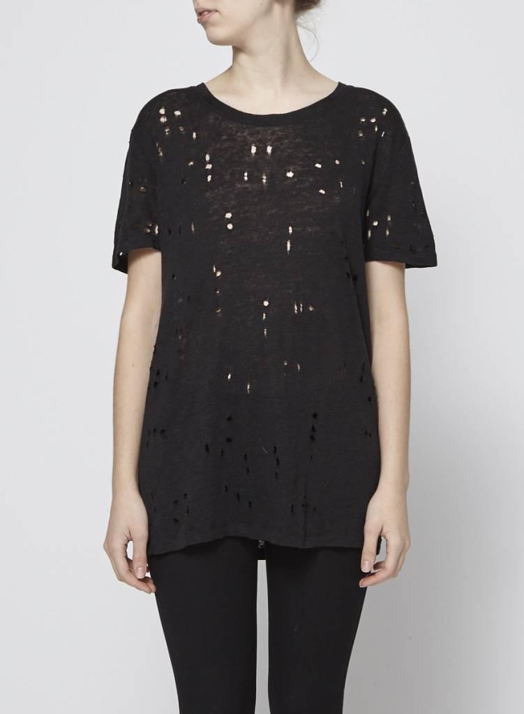 Iro T-shirt noir à trous