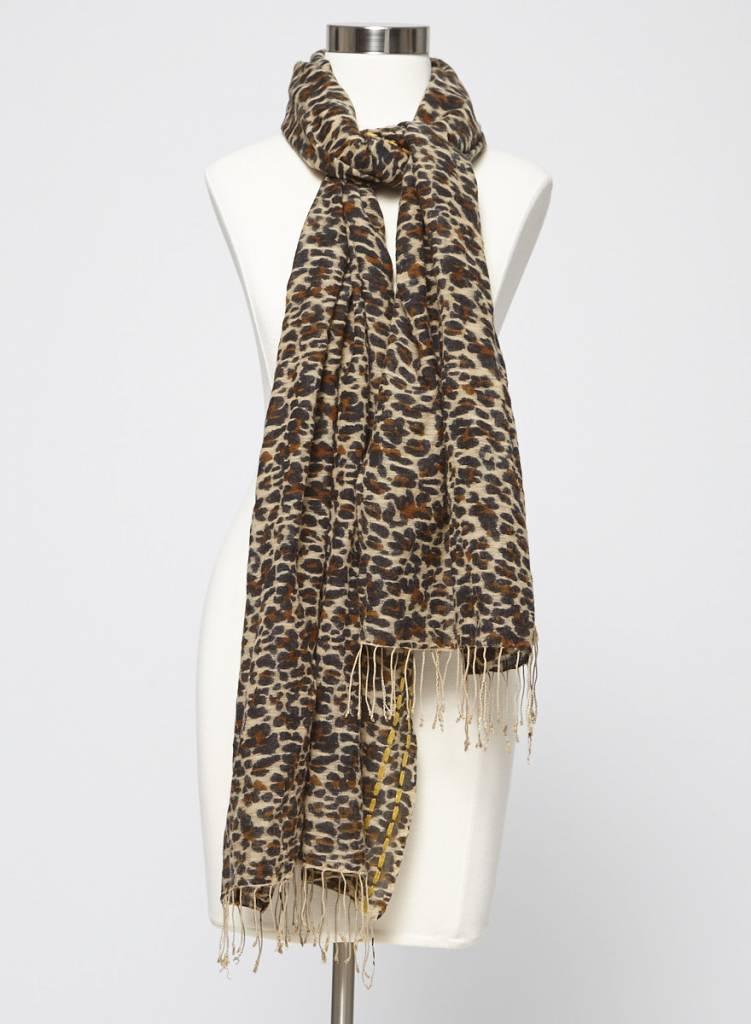 Tory Burch Foulard léopard en soie et laine