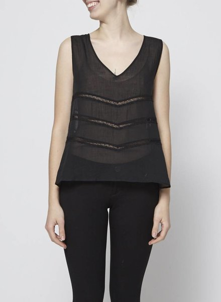 Cotélac BLACK SLEEVELESS TOP