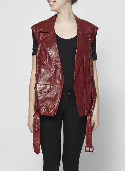 Acne Studios MEMORY SLEEVELESS LEATHER BIKER JACKET