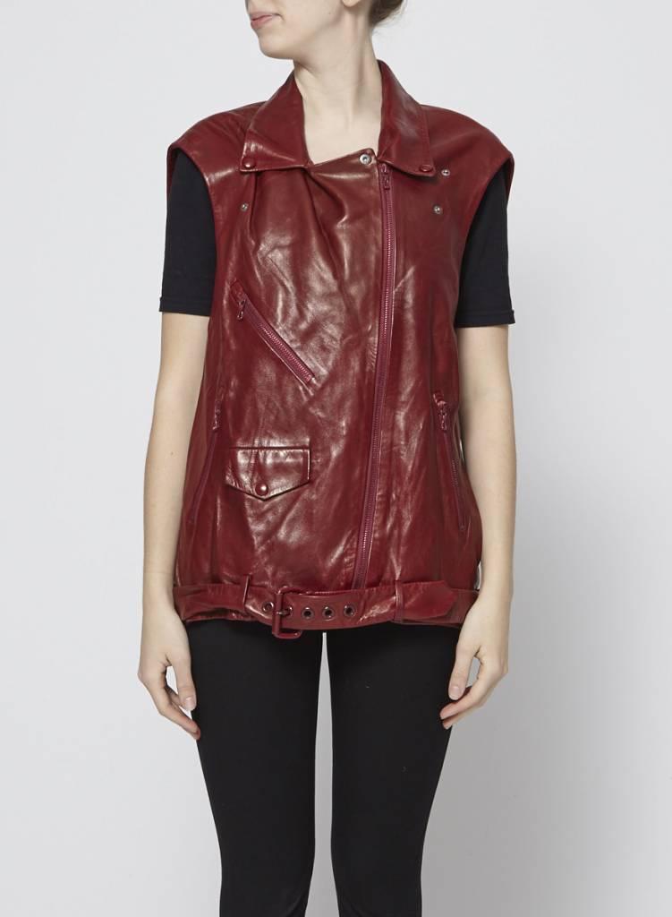 Acne Studios Veste en cuir rouge sans manches