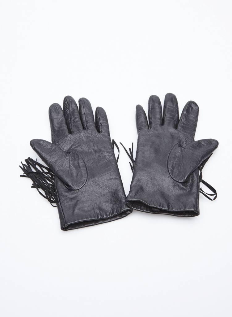 Designers Remix - Charlotte Eskildsen Gants noirs en cuir à franges