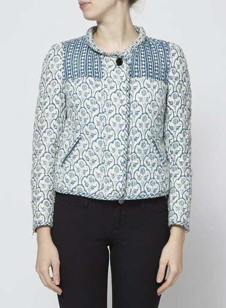 Isabel Marant Étoile BLUE AND CREME QUILTED COTON BLAZER