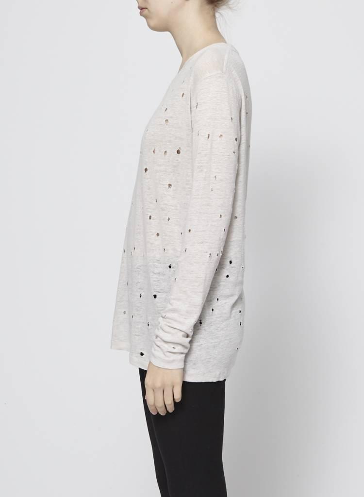 Iro T-shirt à manches longues blanc à trous