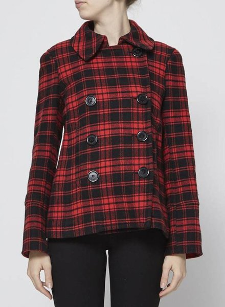 Marc Jacobs RED PLAID WOOL COAT