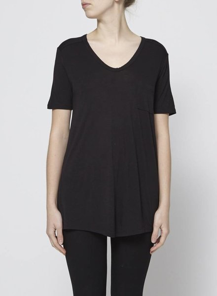 T by Alexander Wang BLACK T-SHIRT V NECK WITH POCKET