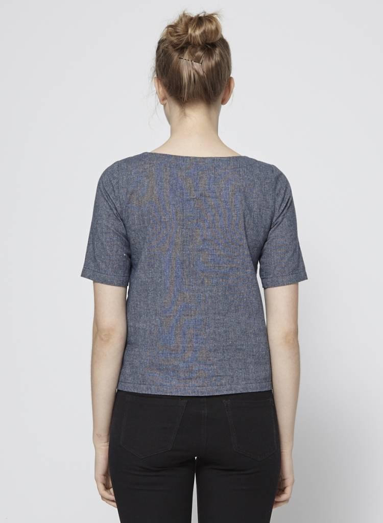 Atelier B Haut bleu en coton