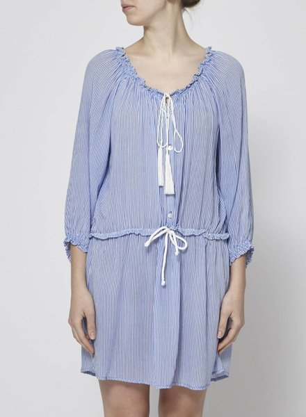 Faithfull The Brand WHITE AND BLUE STRIPED DRESS