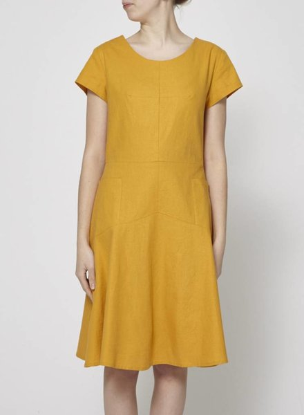 Jennifer Glasgow LINEN YELLOW MUSTARD DRESS WITH POCKETS