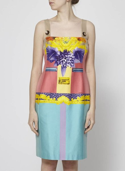 Versace PINK AND TURQUOISE FLOWER PRINT DRESS