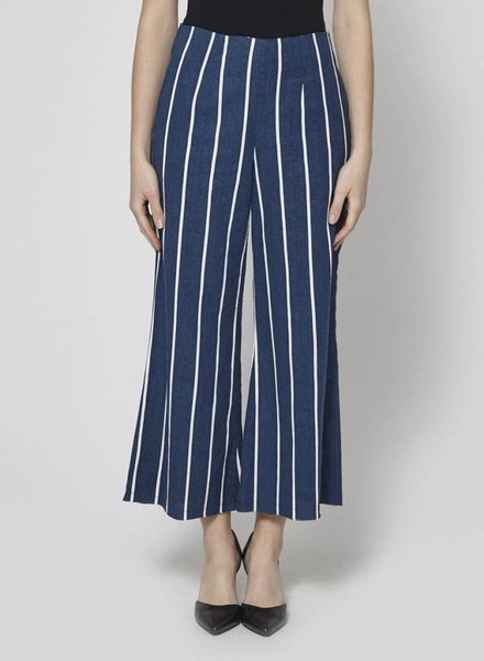 Faithfull The Brand BLUE PANTS WITH WHITE STRIPES