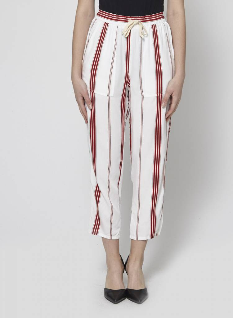 Faithfull The Brand WHITE PANTS WITH RED STRIPES