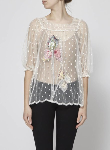 Chanel TULLE TOP WITH EMBROIDERED FLOWERS