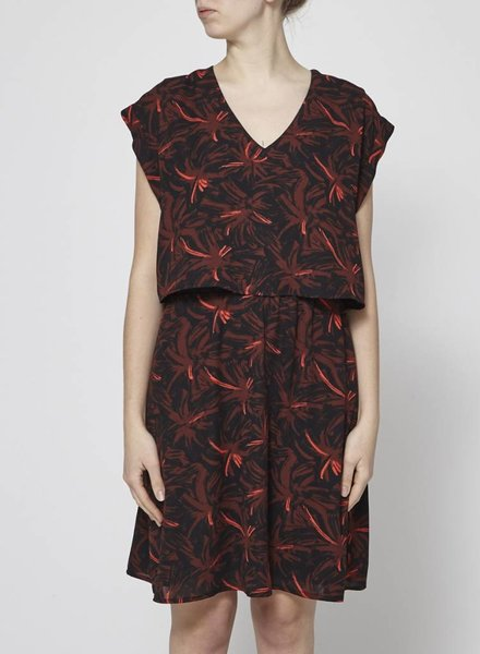 Eve Gravel RED PALM TREE DRESS