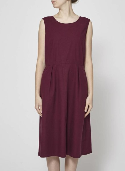 Dagg & Stacey BURGUNDY LINEN DRESS WITH BOW AT THE BACK