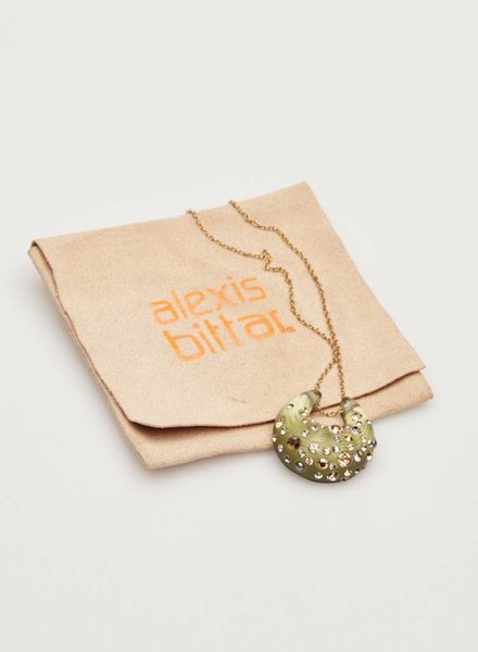 Alexis Bittar SALE - GREEN MOON NECKLACE WITH EMBEDDED STONES