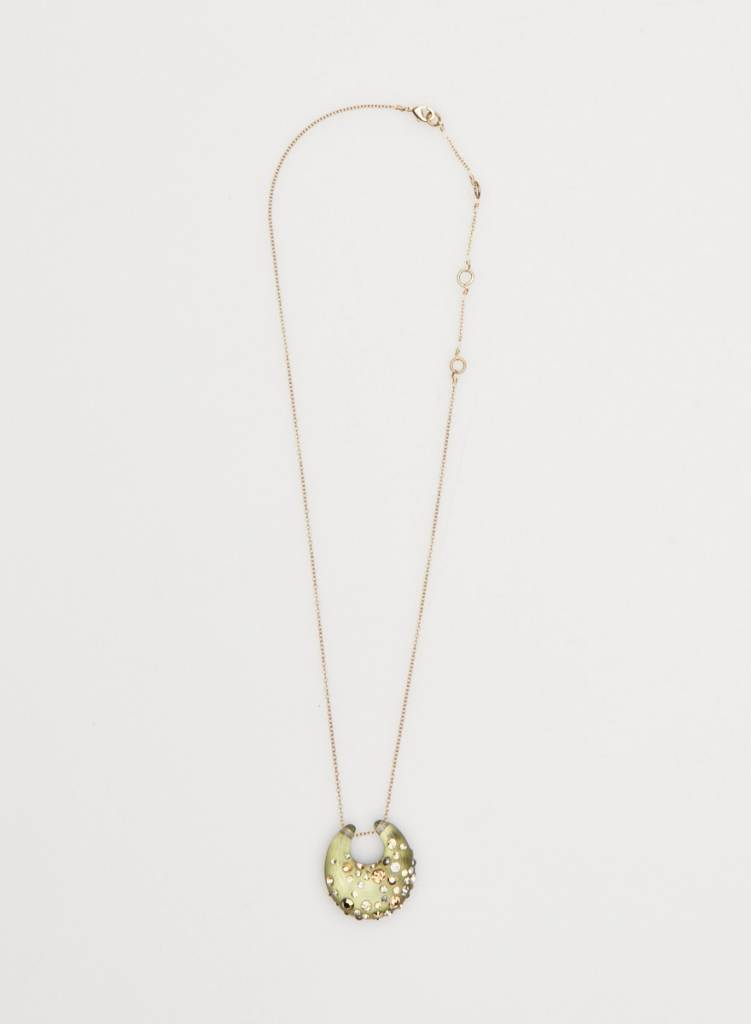 Alexis Bittar GREEN MOON NECKLACE WITH EMBEDDED STONES