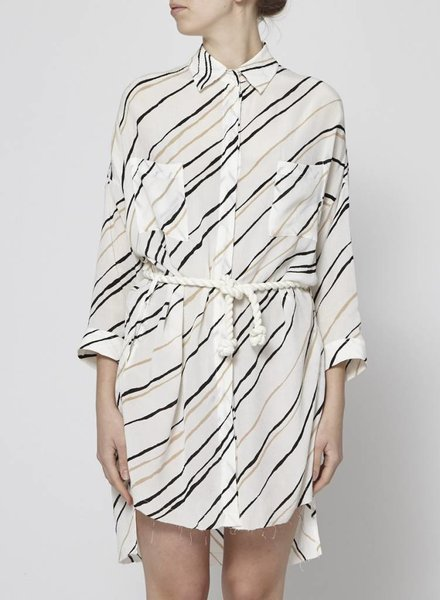 Faithfull The Brand BLACK AND BEIGE STRIPED DRESS