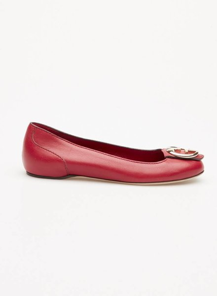 Gucci RED LEATHER BALLERINAS WITH GUCCI BOUCLE