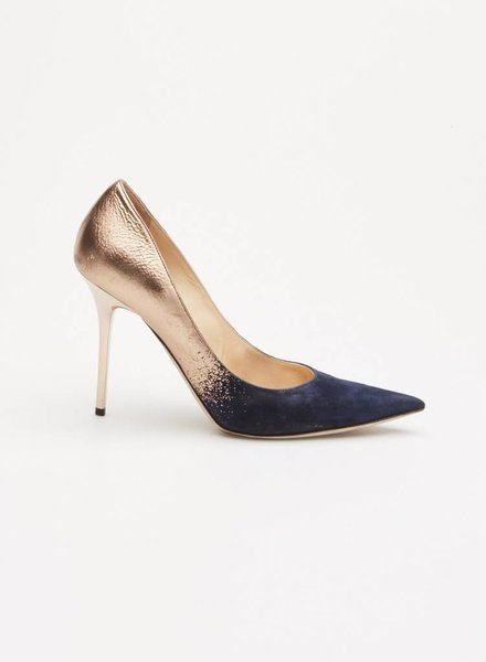 Jimmy Choo BLUE AND GOLD SUEDE PUMPS