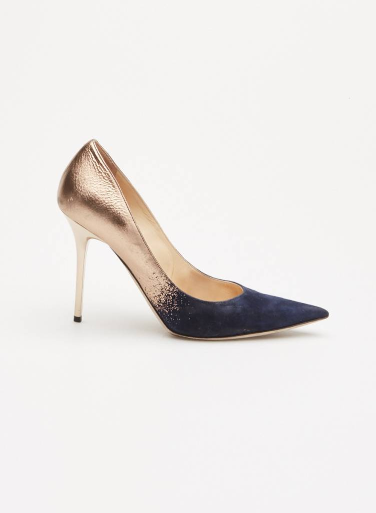 96c7588686dd BLUE AND GOLD SUEDE PUMPS - JIMMY CHOO - DEUXIEME EDITION