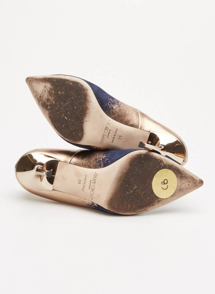 fa5fc57cd85 BLUE AND GOLD SUEDE PUMPS - JIMMY CHOO - DEUXIEME EDITION
