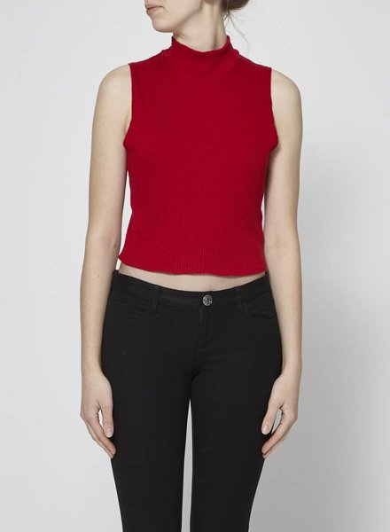 Lustre RED TURTLENECK CROP TOP