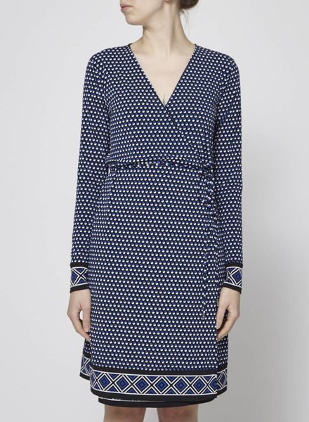 Michael Kors BLUE AND WHITE DOTS WRAP DRESS