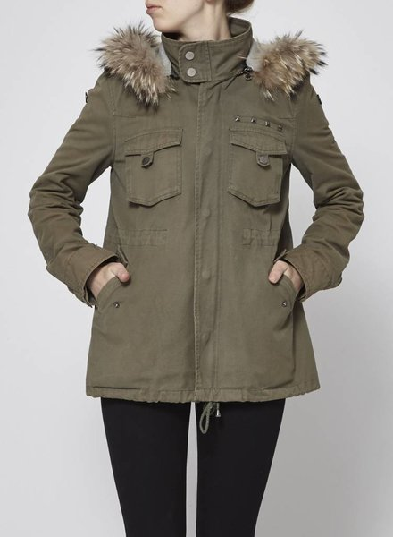 LaROK GREEN PARKA WITH FUR HOOD