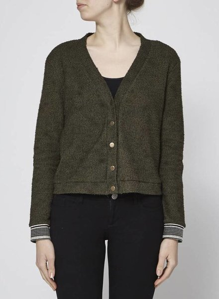 Cokluch GREEN CARDIGAN WITH STRIPED SLEEVES