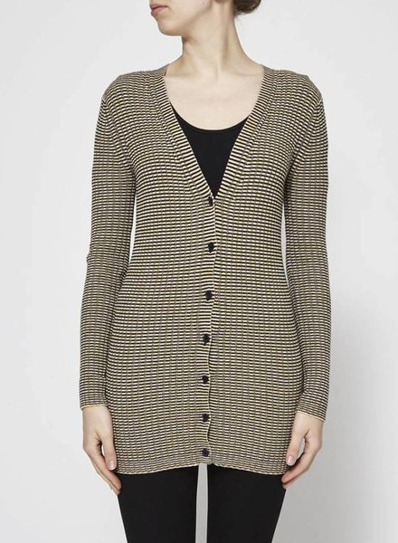 Theory STRIPED KNITTED CARDIGAN WITH ZIGZAG MOTIF