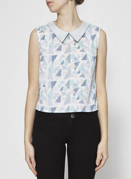 Eve Gravel TOP WITH PASTEL MOTIFS AND LONG POINT COLLAR