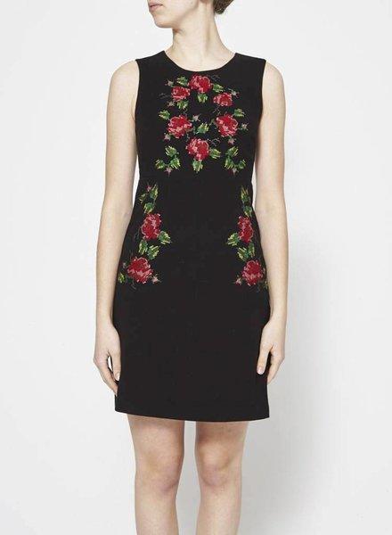 Darling FLORAL-EMBROIDERED BLACK DRESS