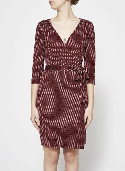 Diane von Furstenberg PRINTED BURGUNDY WRAP DRESS