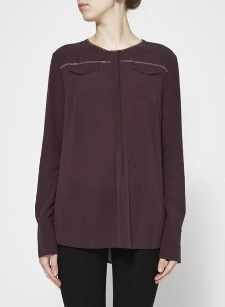 Brunello Cucinelli BURGUNDY SILK BLOUSE WITH SILVER DETAILS