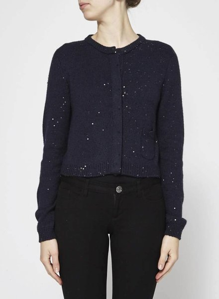 Brunello Cucinelli NAVY SILK AND CASHMERE SEQUIN CARDIGAN